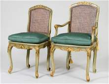 SET OF EIGHT LOUIS XV STYLE PAINTED CANED CHAIRS