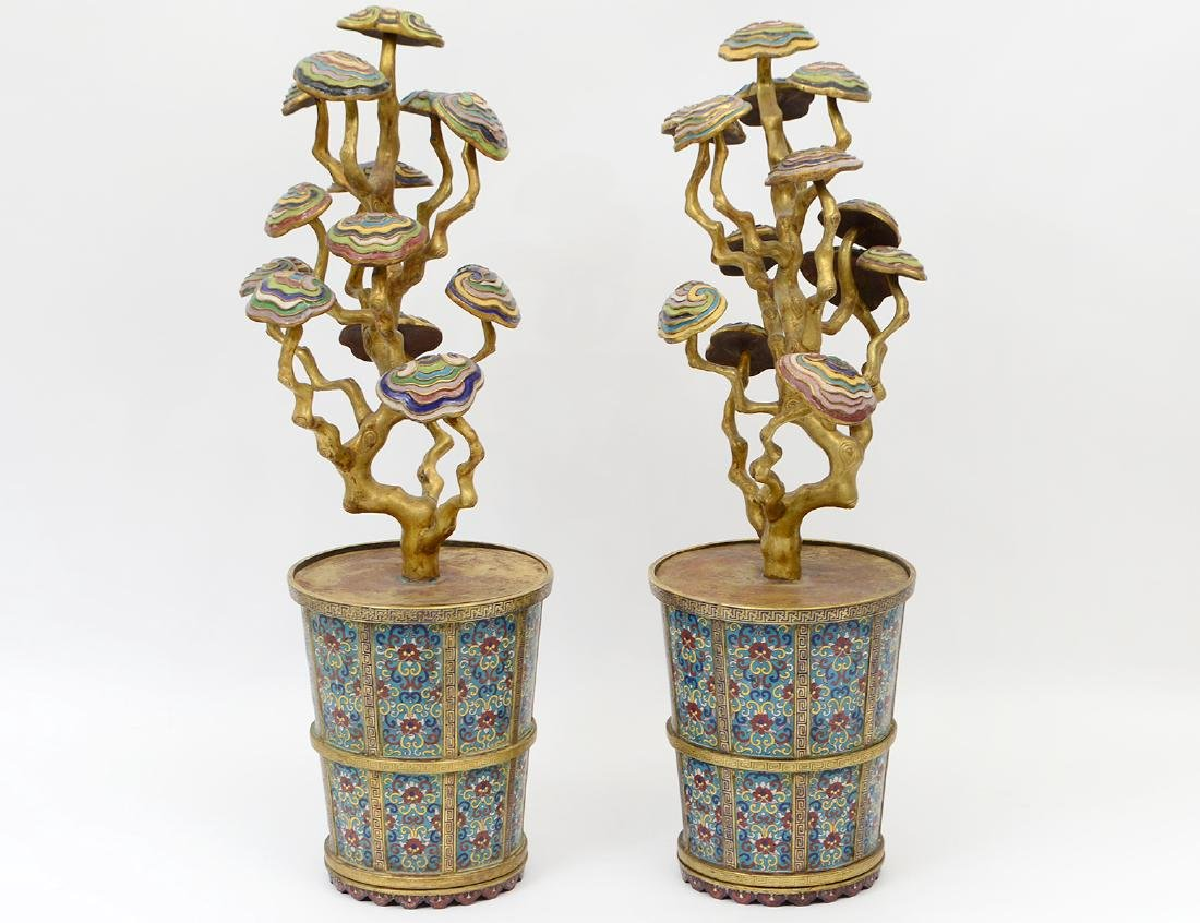 PAIR OF RARE IMPERIAL CHINESE CLOISONNE LINGZI
