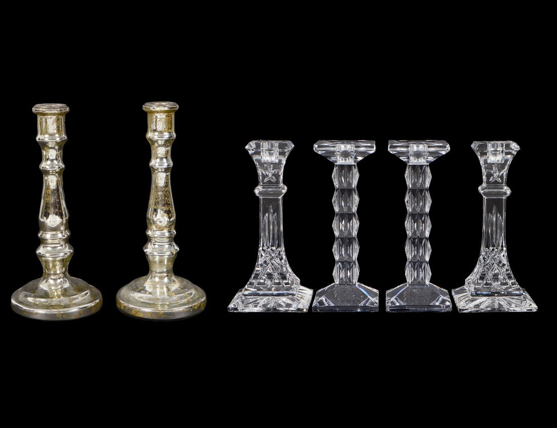 THREE PAIRS OF GLASS CANDLESTICKS