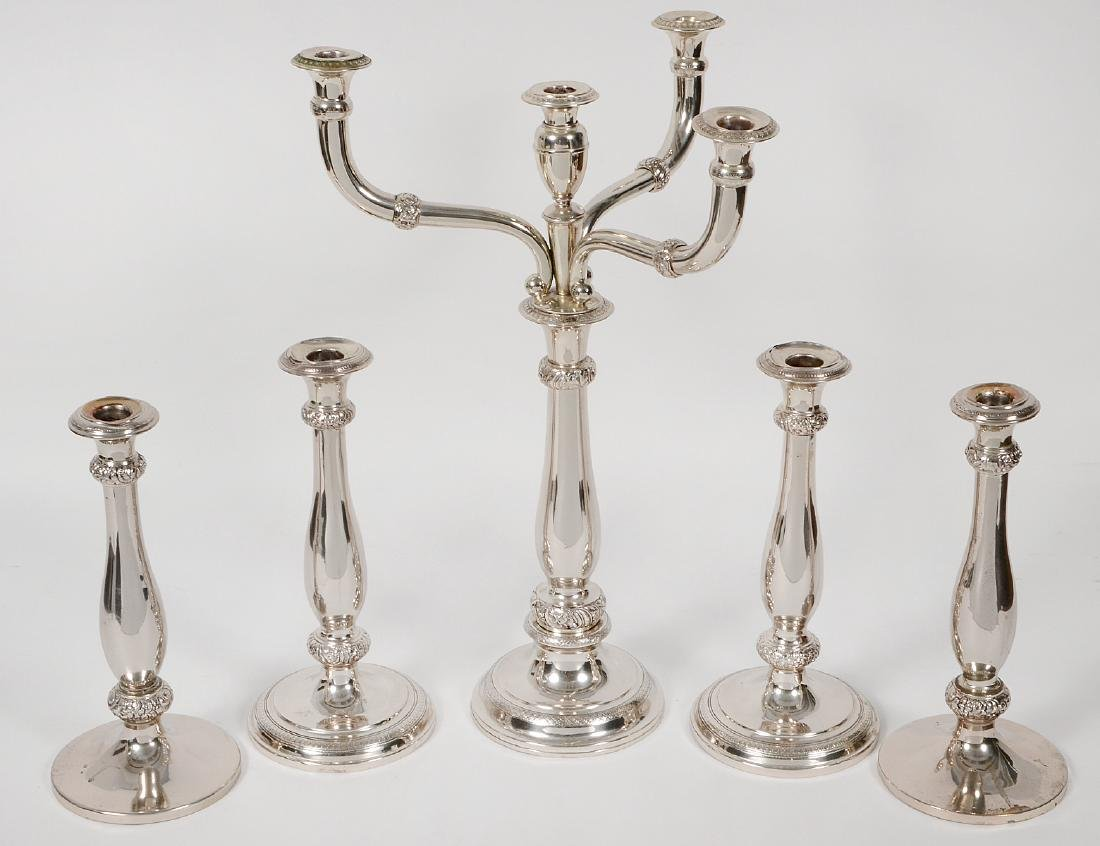 CONTINENTAL 5-PIECE SILVER CANDLESTICK GARNITURE