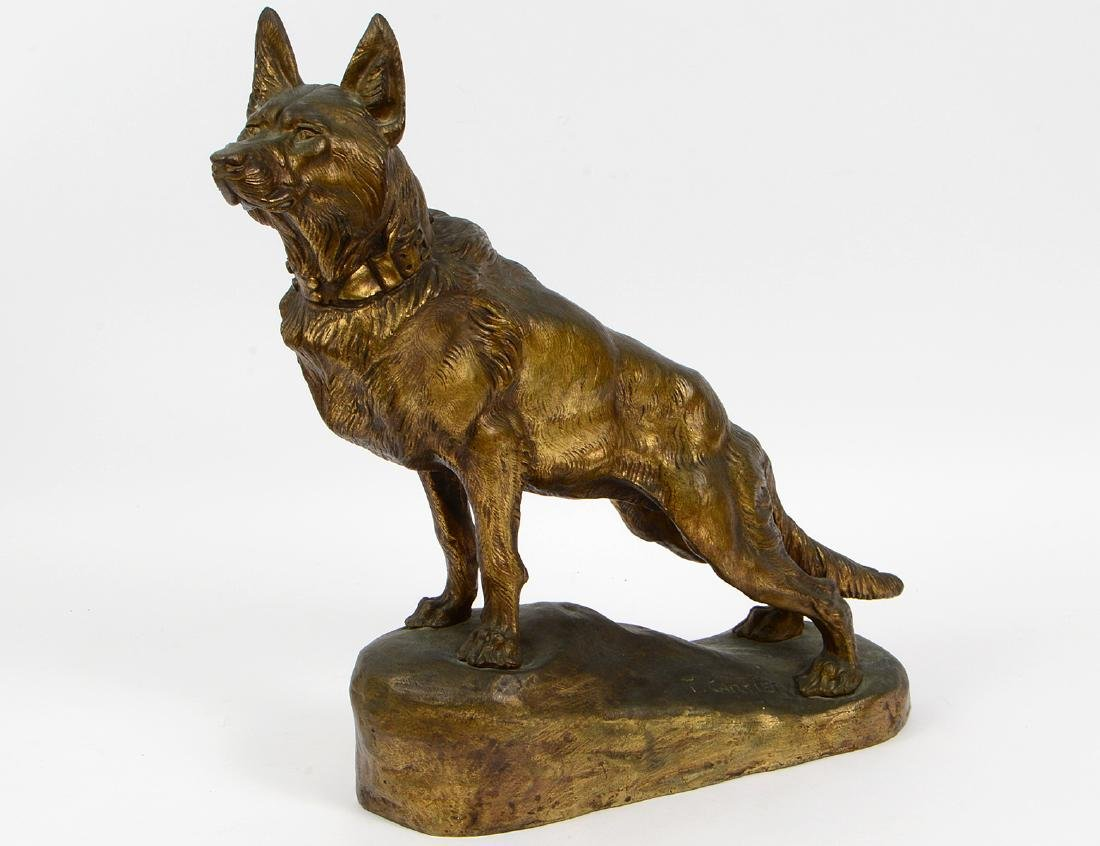 T. F. CARTIER, FRENCH GILT BRONZE GERMAN SHEPHERD