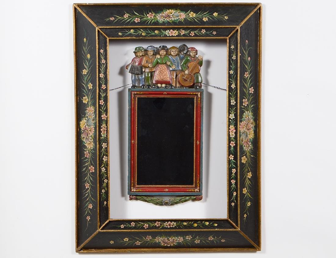 SWISS CARVED AND PAINTED FOLK MIRROR
