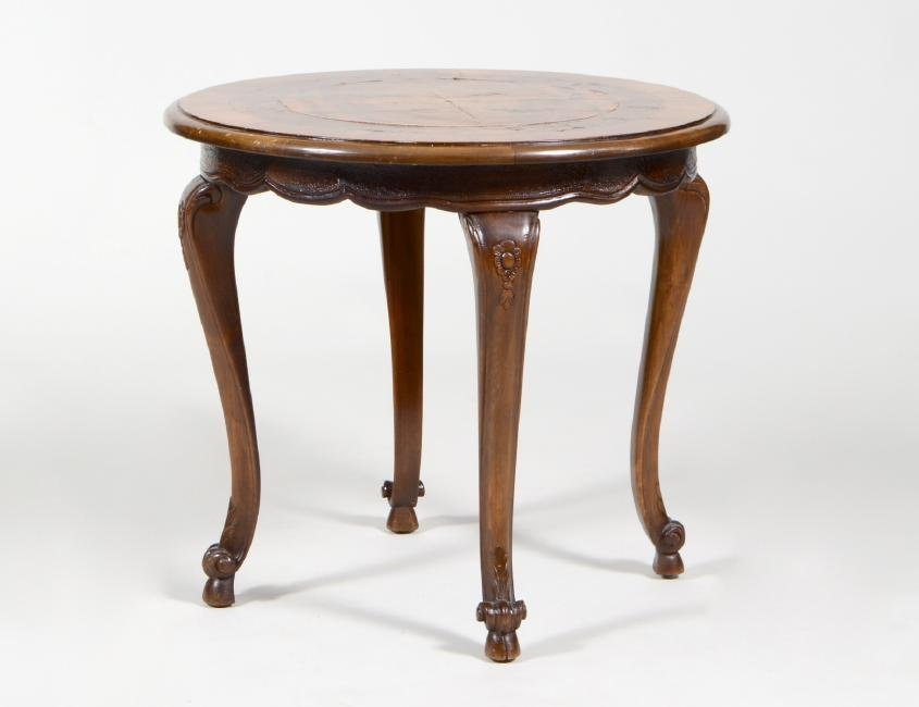 QUEEN ANNE STYLE INLAID WALNUT CIRCULAR LOW TABLE