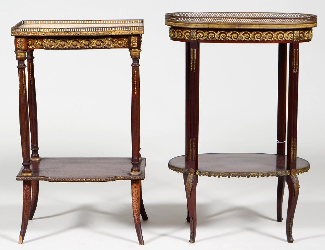 2 LOUIS XVI MAHOG TABLES EN CHIFFIONIERS