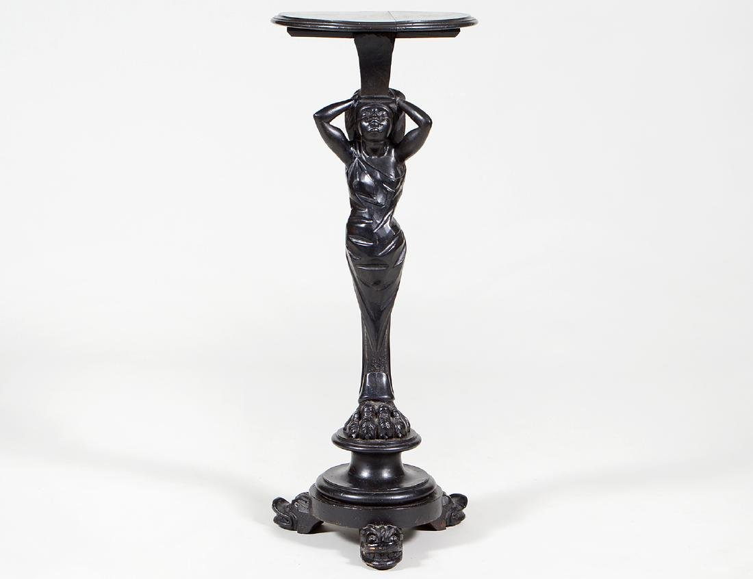 CONTINENTAL EBONIZED CARVED WOOD FIGURAL STAND