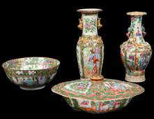 FOUR CHINESEEXPORT ROSE MEDALLION PORCELAIN ITEMS