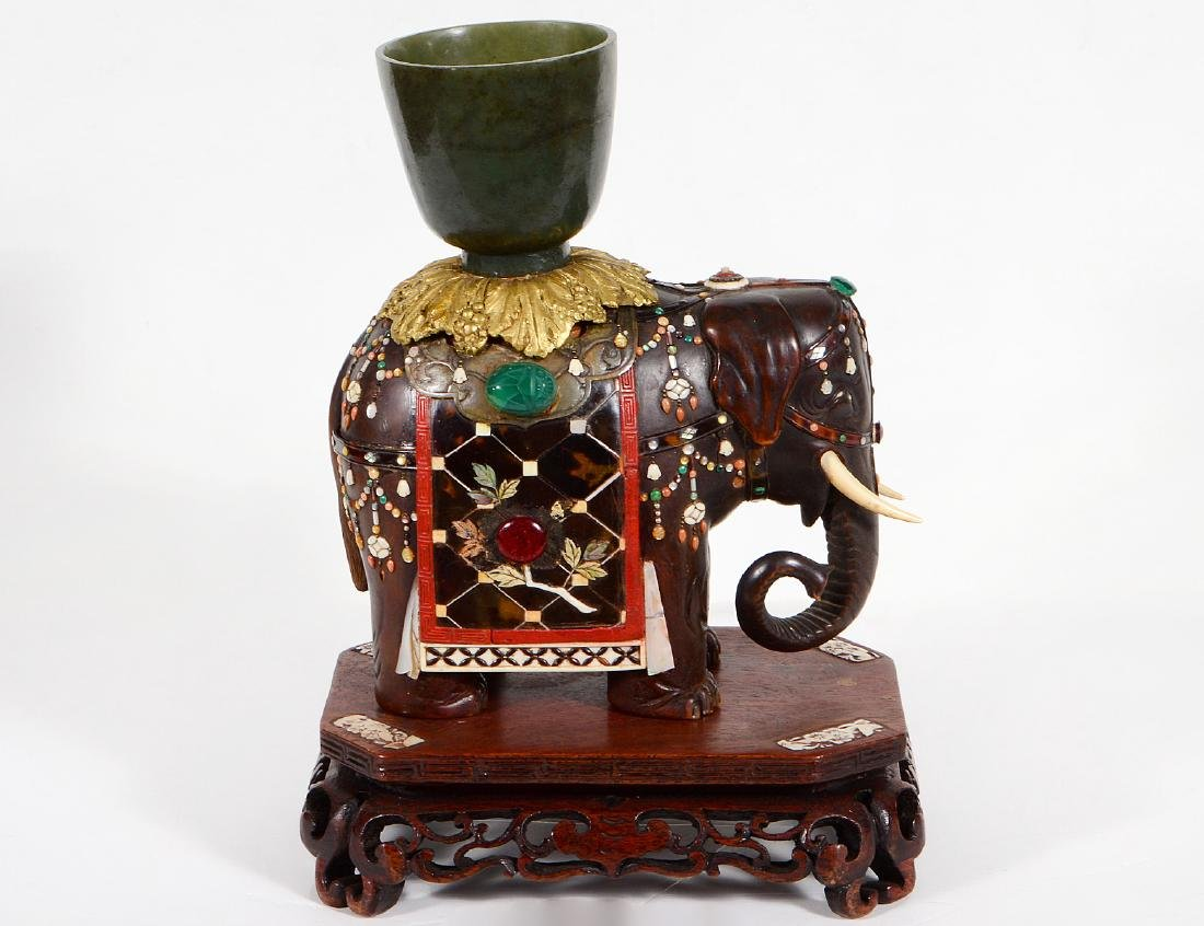 FINE JAPANESE JEWEL MOUNTED SHIBAYAMA ELEPHANT