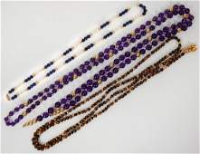 THREE LADIES MINERAL BEAD AND GOLD NECKLACES