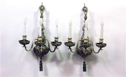 72: Pair of Silverplated Three Arm Sconces