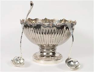 SILVER PLATE PUNCH BOWL AND TWO LADLES