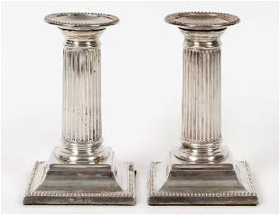 PAIR OF EDWARDIAN REEDED SILVER CANDLESTICKS