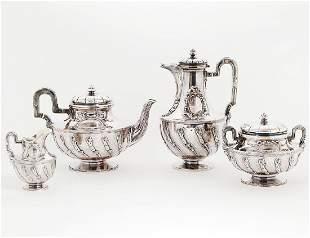 FRENCH TOURON SILVER FOUR PIECE TEA SERVICE