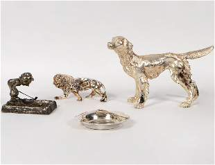 FOUR VARIUOUS SILVER AND SILVER PLATE ITEMS
