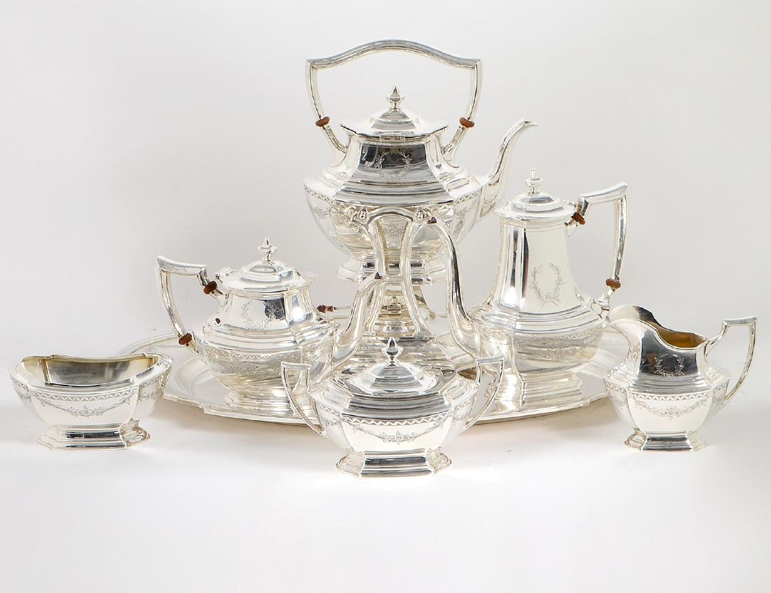 AMERICAN STERLING SILVER SEVEN PIECE TEA & COFFEE