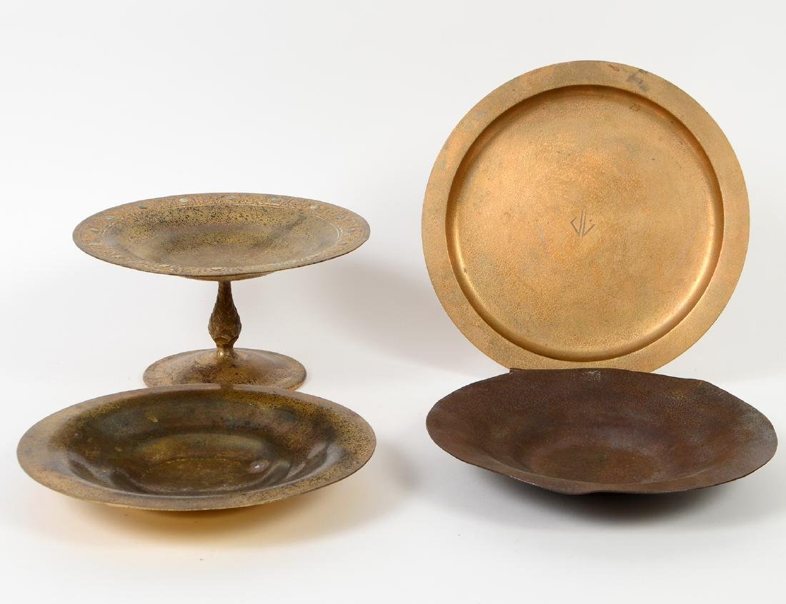 TIFFANY GILT BRONZE TAZZA & THREE PLATES