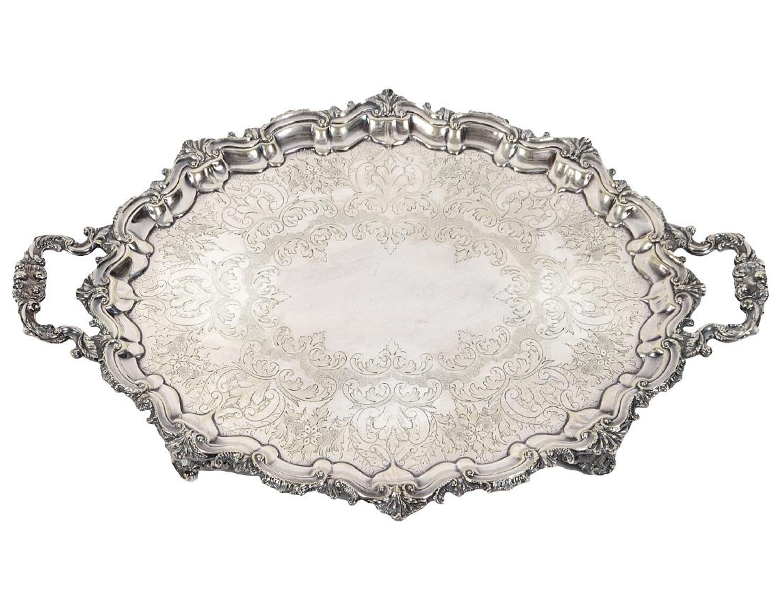 ENGLISH ROCOCO STYLE SILVER PLATE TWO-HANDLED TRAY