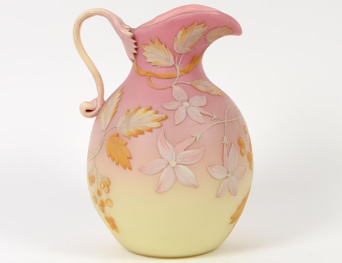 MOUNT WASHINGTON BURMESE GLASS PITCHER