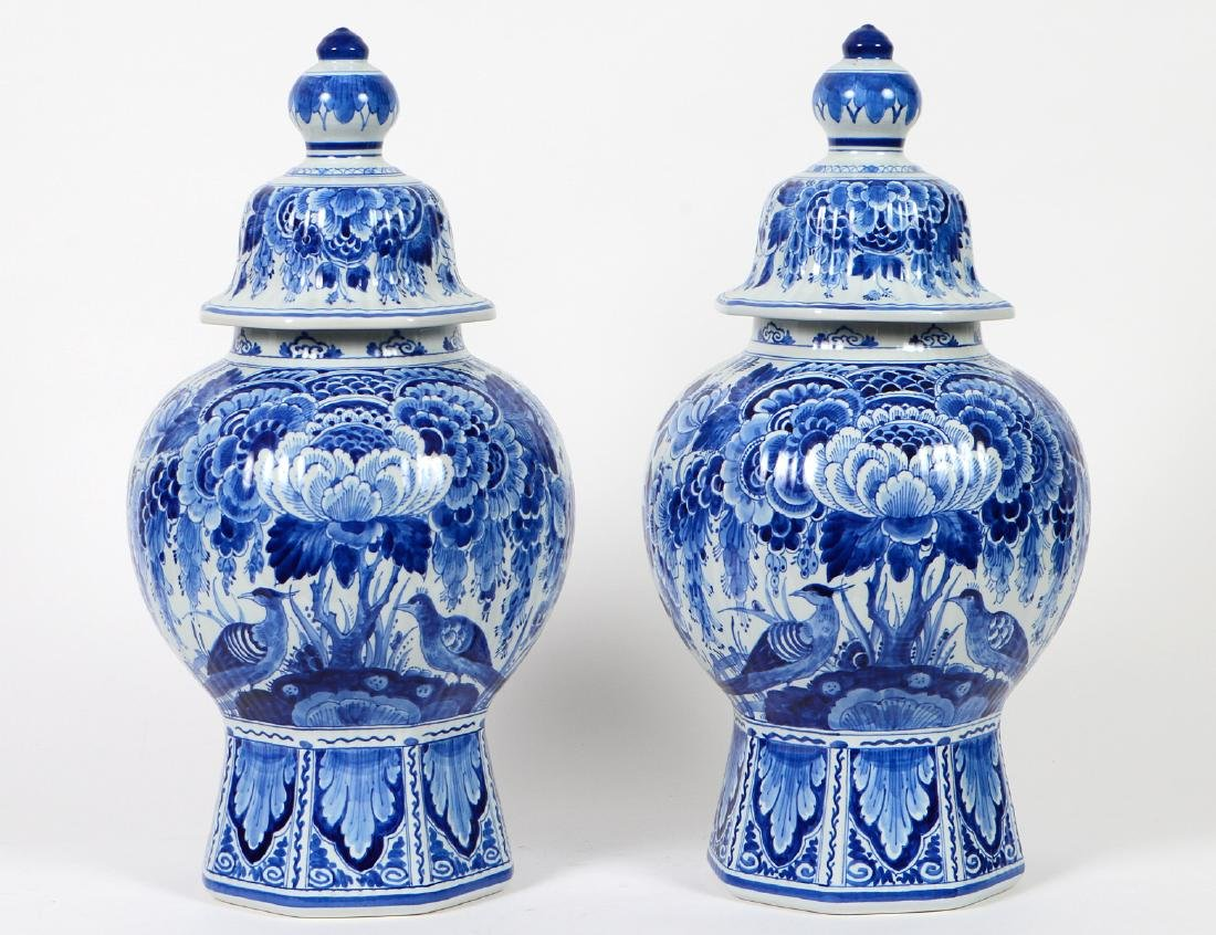 PAIR OF BLUE AND WHITE DELFT COVERED VASES