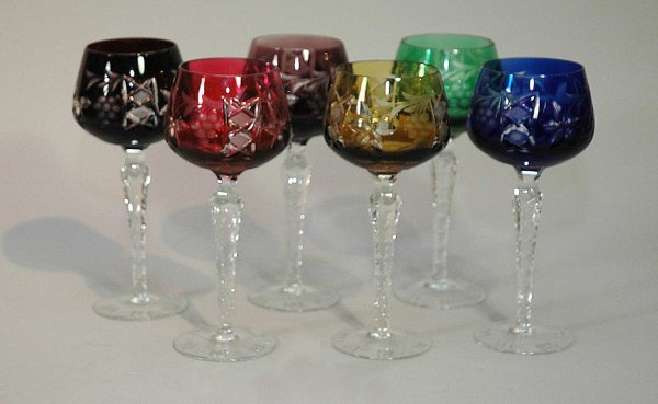 1: Six (6) Varied Colored, Cut-To-Clear Wine Goblets