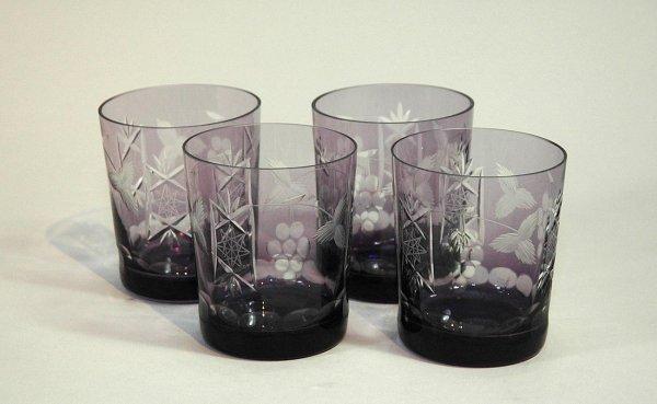 5: Set of four (4) Amethyst Etched Rocks Glasses.