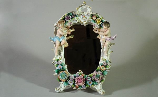 7: Saxony Porcelain Figural Easel-Mounted Vanity Mirror