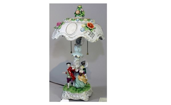 8: Porcelain Figural Dresden-Style Table Lamp