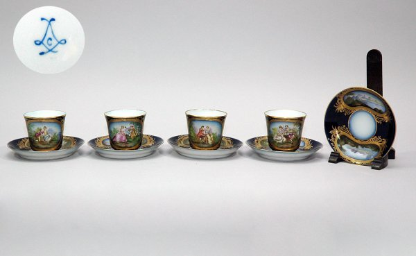 11: Five French Sevres Cups and Saucers