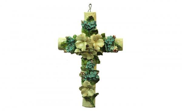 12: French Pottery-Glazed Crucifix Heavily Adorned