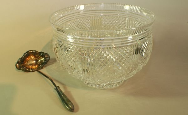 14: Large Patterned Cut Crystal Waterford Bowl