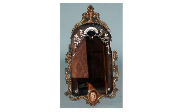15: Vintage Carved Wood-Framed, Etched, Wall Mirror