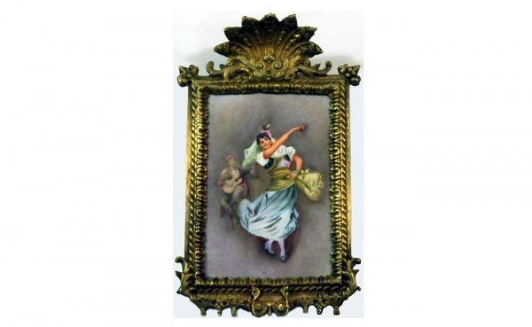 "20: Antique Hand-Painted Porcelain Plaque ""Gypsy Dancer"