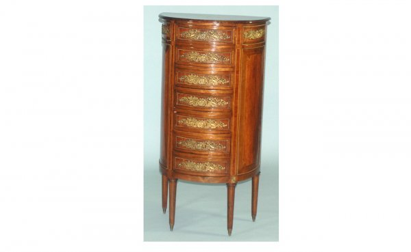 22: Fr Inlaid 7-Drawer Bowfront Ormolu-Mounted Chest