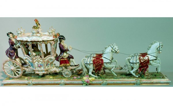 93: Large Dresden Hand-Painted Centerpiece Depicting Th