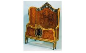 211 Pair of Saginaw Furniture Carved and Inlaid Italia