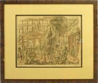 """266: Alfred Kubin German 1877-1959, """"Das Warenhaus""""  Et"""