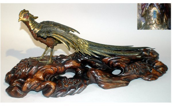 304: Japanese Bronze Meiji Royal Pheasant on Carved Har