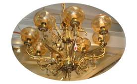 346 Eight Arm Brass Chandelier with Etched Glass Shade