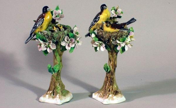 8B: Pair of German Porcelain Birds in Nest Groupings