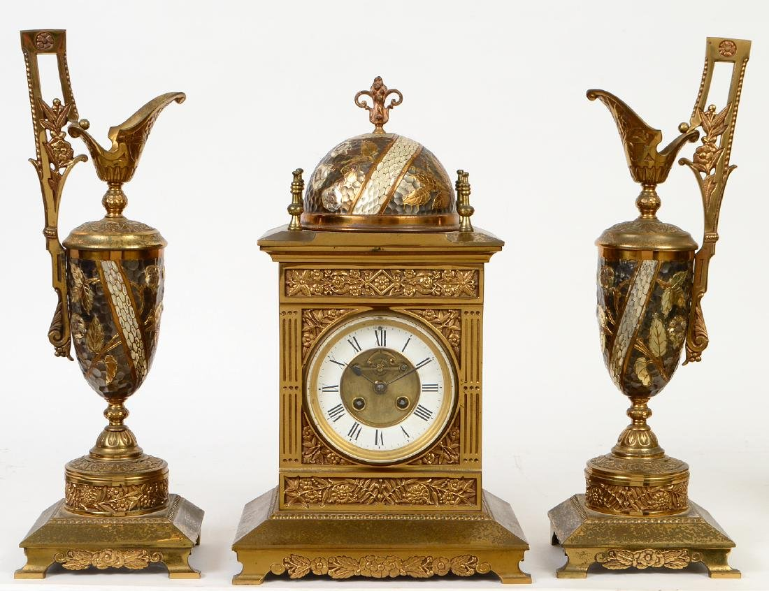 AESTHETIC MOVEMENT MIXED METAL CLOCK GARNITURE