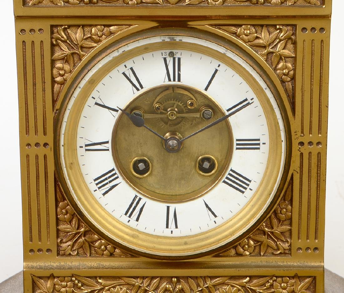 AESTHETIC MOVEMENT MIXED METAL CLOCK GARNITURE - 2