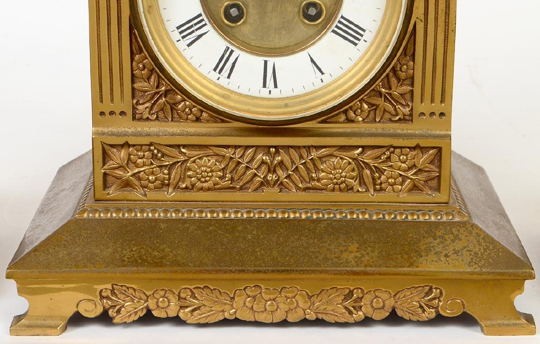 AESTHETIC MOVEMENT MIXED METAL CLOCK GARNITURE - 3