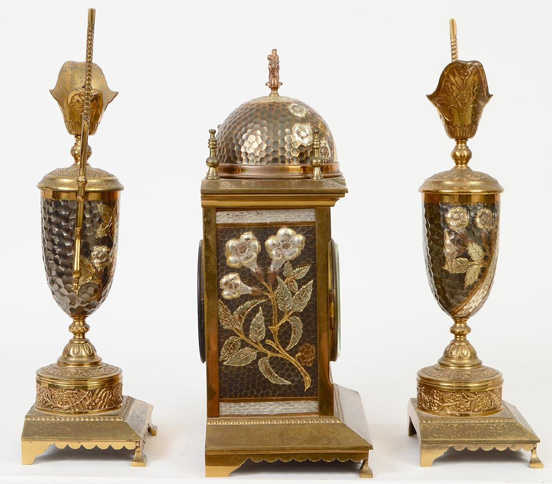 AESTHETIC MOVEMENT MIXED METAL CLOCK GARNITURE - 6