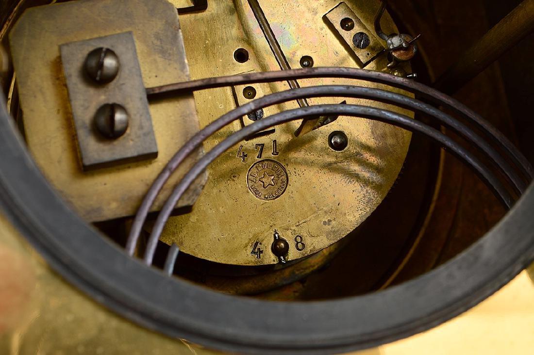 AESTHETIC MOVEMENT MIXED METAL CLOCK GARNITURE - 8