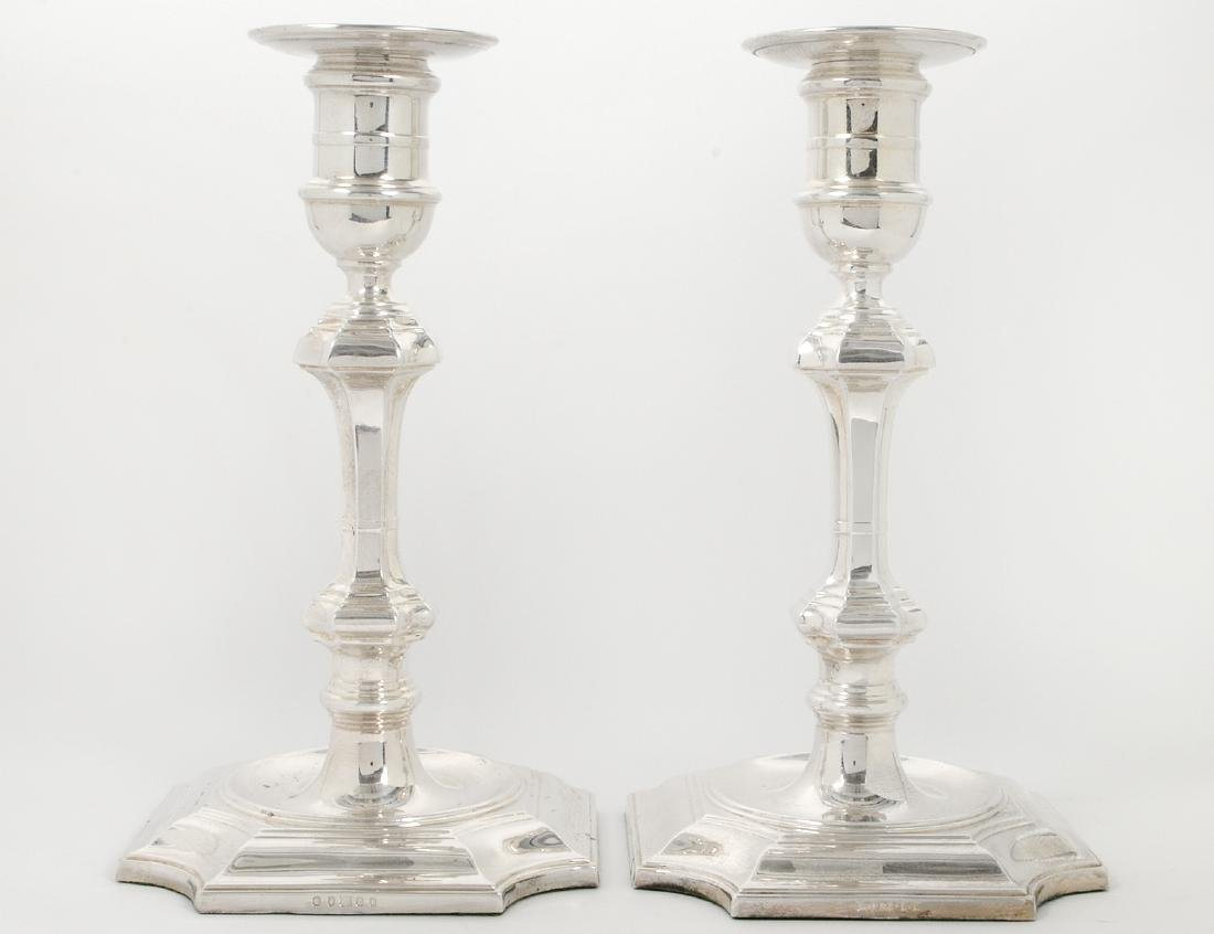 PAIR OF BAROQUE STYLE SILVER PLATE CANDLESTICKS