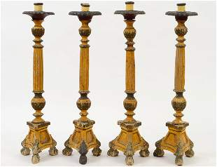 FOUR ITALIAN NEO-CLASSICAL STYLE PAINTED WOOD