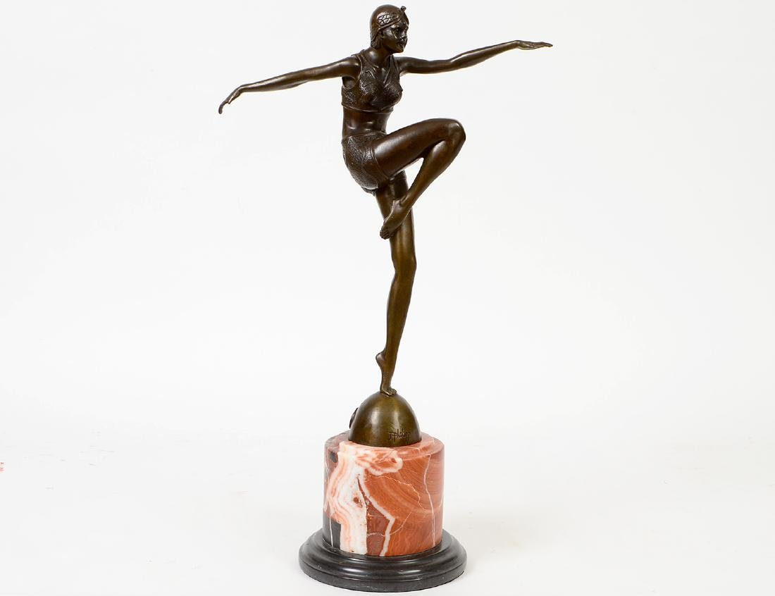 FRENCH ART DECO PATINATED BRONZE DANCER