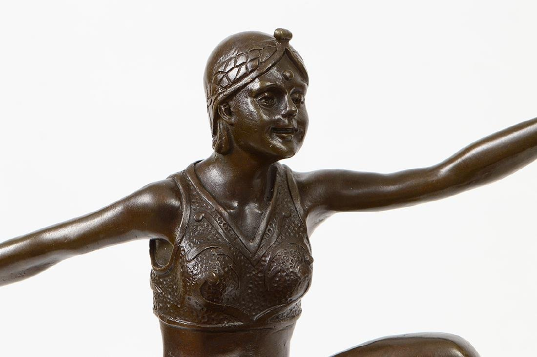 FRENCH ART DECO PATINATED BRONZE DANCER - 2