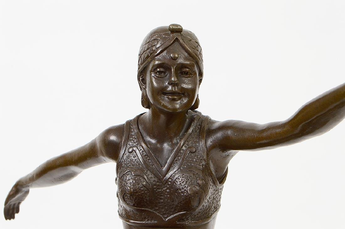 FRENCH ART DECO PATINATED BRONZE DANCER - 3