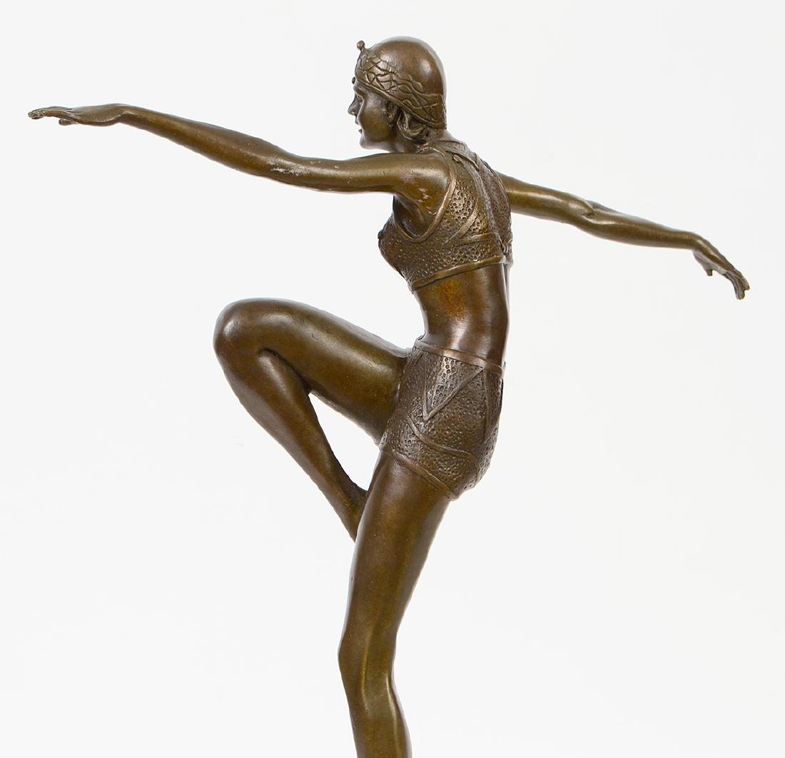 FRENCH ART DECO PATINATED BRONZE DANCER - 6