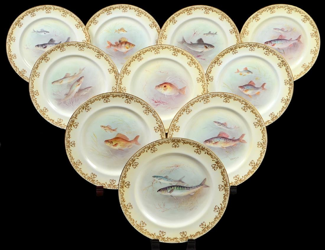 SET OF TEN ROYAL DOULTON PORCELAIN FISH PLATES